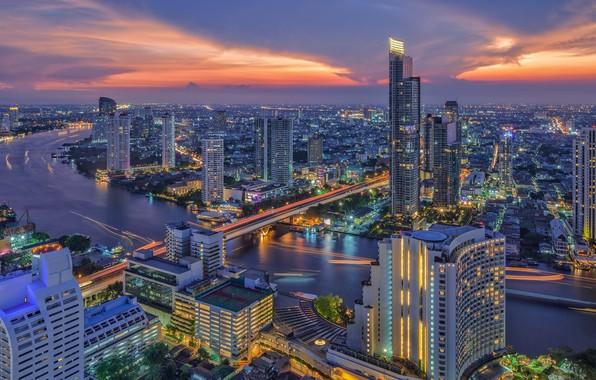 Фото обои город, панорама, Таиланд, Бангкок, Thailand, Bangkok