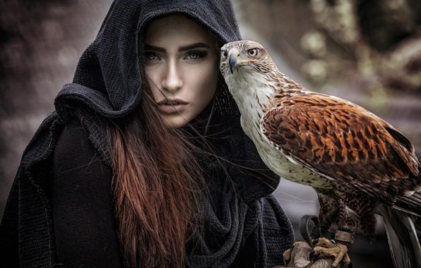 Картинка глаза, взгляд, девушка, темный фон, друг, птица, портрет, капюшон, когти, шатенка, сокол, накидка, хищная, питомец, …