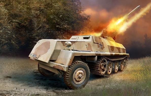 Картинка вермахт, Sd.Kfz.4/1, Реактивная система залпового огня, 15cm Panzerwerfer 42 Auf.Sf, германская самоходная РСЗО