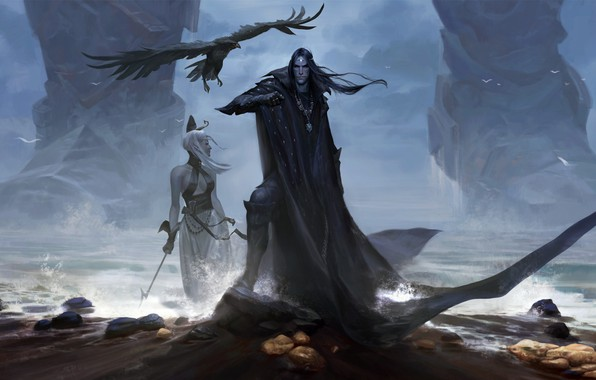 Картинка girl, fantasy, magic, sea, crow, man, shore, digital art, artwork, giant, fantasy art, witch, medallion, …