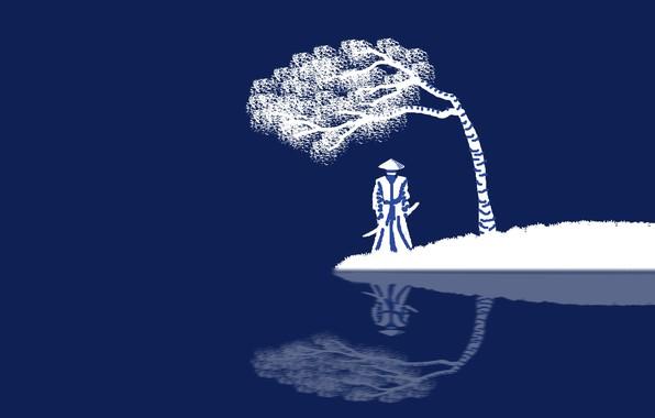 Картинка sword, fantasy, minimalism, weapon, hat, katana, tree, blue background, reflection, digital art, artwork, Samurai, warrior, …