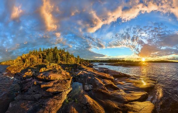 Картинка небо, закат, скалы