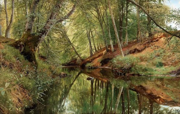 Картинка 1896, датский живописец, Петер Мёрк Мёнстед, Peder Mørk Mønsted, Danish realist painter, Река в лесу …