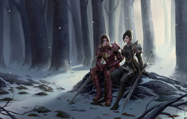 Картинка fantasy, forest, armor, trees, girls, winter, snow, weapons, digital art, artwork, swords, fantasy art, sitting, …