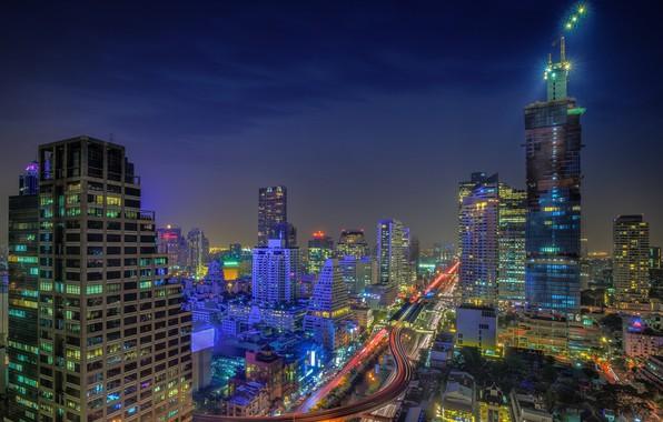 Картинка пейзаж, ночь, город, огни, здания, красота, Тайланд, Бангкок