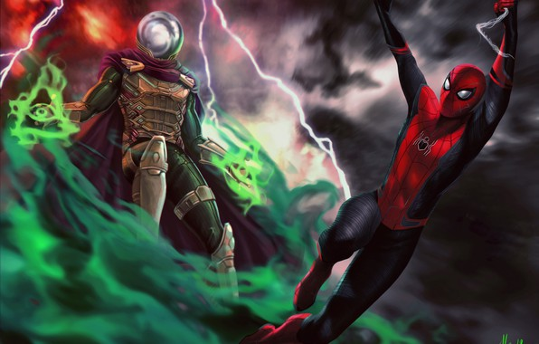 Картинка Art, Jake Gyllenhaal, Peter Parker, Spider Man, Tom Holland, Mysterio, Spider Man:Far from home