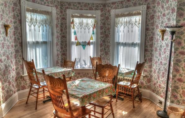 Картинка комната, мебель, окна, стулья, интерьер, столы, занавески, столовая, эркер