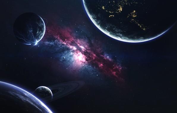 Картинка Галактика, Звезды, Планета, Космос, Туманность, Звезда, Планеты, Молнии, Planets, Кольцо, Star, Арт, Stars, Space, Art, …