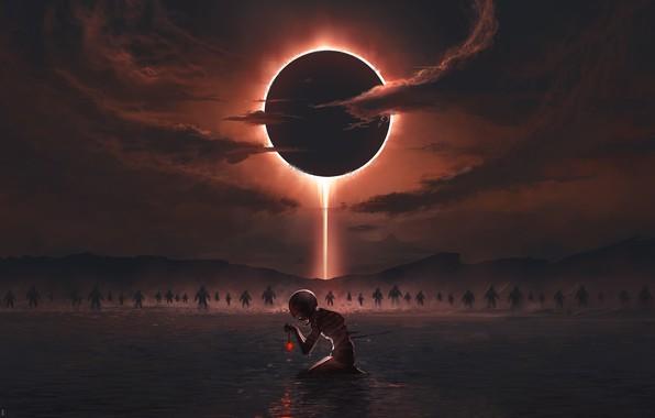 Картинка Солнце, Небо, Вода, Существо, Sky, Арт, Силуэты, Art, Sun, Water, Фантастика, Creature, Rebirth, Eclipses, Затмения, …