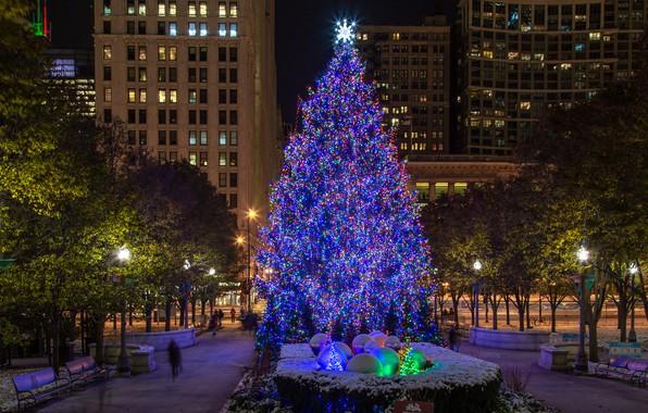 Картинка город, фото, Дома, Вечер, Город, Чикаго, Новый год, Елка, США, Уличные фонари