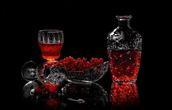 Картинка ягоды, бокалы, напиток, смородина, вазочка, графин, Сергей Фунтовой