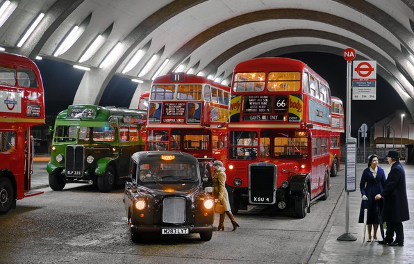 Картинка ретро, люди, стоянка, такси, автобусы