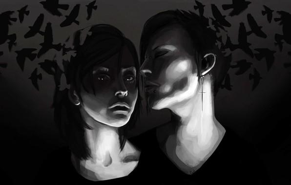Картинка птицы, ночь, девушки, темные, Cutt, Sci