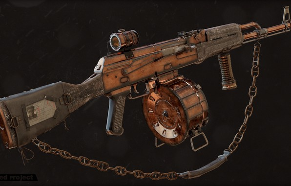 Картинка рендеринг, оружие, gun, weapon, render, custom, Калашников, штурмовая винтовка, assault Rifle, Kalashnikov, post apocalypse, пост …