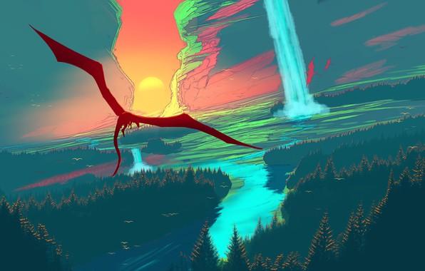 Картинка fantasy, forest, river, trees, landscape, sunset, waterfall, dragon, artist, digital art, artwork, fantasy art, fantasy …