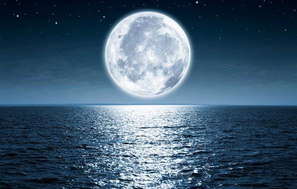 Картинка moon, ocean, water, night