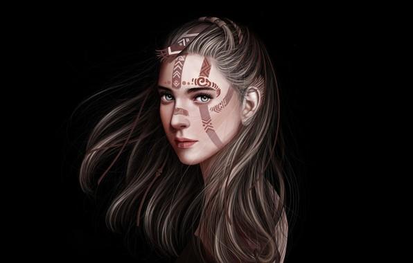 Картинка Девушка, Минимализм, Рисунок, Взгляд, Блондинка, Губы, Стиль, Лицо, Girl, Волосы, Арт, Beautiful, Art, Красотка, Style, …