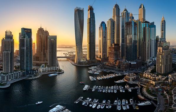 Картинка здания, яхты, залив, Дубай, катера, Dubai, небоскрёбы, гавань, ОАЭ, UAE, Дубай Марина, Dubai Marina