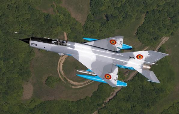 Картинка Дорога, Лес, Истребитель, МиГ-21, ОКБ Микояна и Гуревича, ВВС Румынии