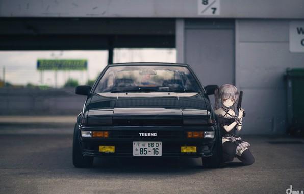 Картинка car, машина, пистолет, оружие, обои, аниме, арт, черная, wallpaper, pistol, drift, Toyota, black, Art, cars, …