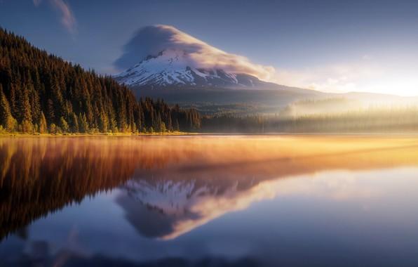 Фото обои море, гора, утро