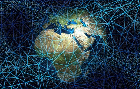 Картинка сеть, паутина, Земля, интернет, web