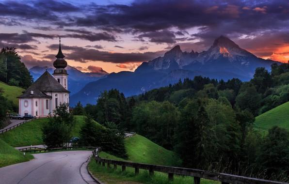 Картинка дорога, деревья, пейзаж, закат, горы, природа, Германия, Бавария, Альпы, церковь, леса, Berchtesgaden, Берхтесгаден, Вацманн