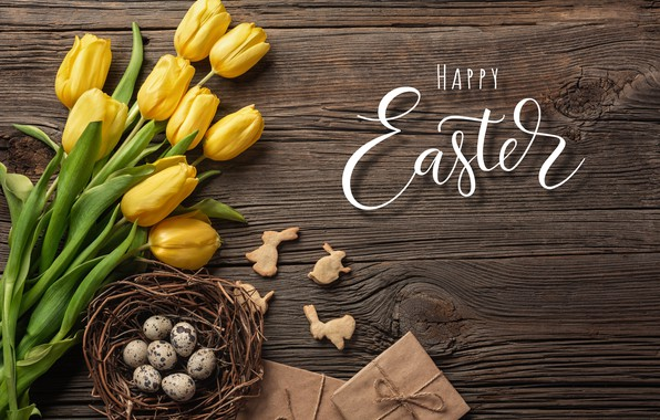 Картинка цветы, яйца, букет, желтые, colorful, Пасха, тюльпаны, happy, yellow, wood, flowers, tulips, Easter, eggs, decoration