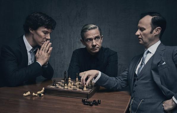 Картинка фон, игра, шахматы, Мартин Фримен, Бенедикт Камбербэтч, Benedict Cumberbatch, Sherlock, Марк Гэтисс, Майкрофт Холмс, Sherlock …