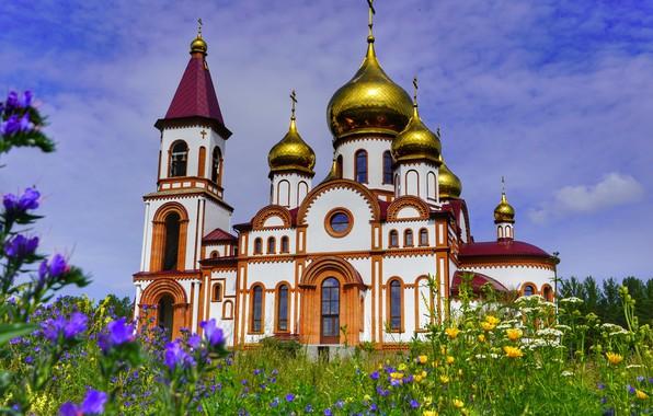 Картинка лето, цветы, Церковь, Красноярск