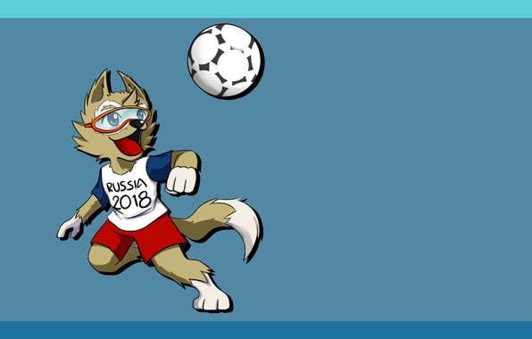 Картинка Мяч, Футбол, Волк, Россия, Арт, 2018, ФИФА, FIFA, ЧМ 2018, Маскот, Забивака, Талисман, Чемпионат мира …