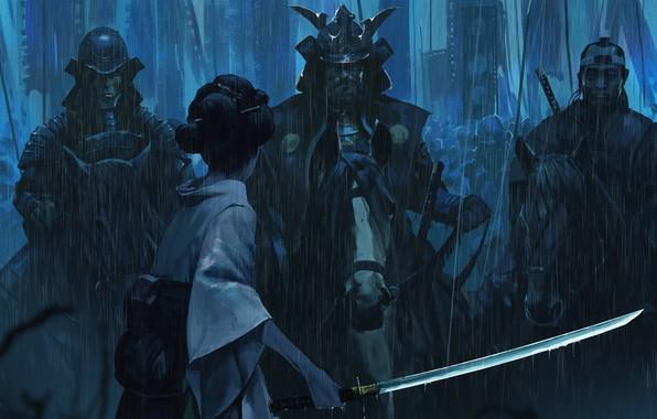 Картинка японка, спина, катана, армия, доспехи, генерал, шлем, Japan, ливень, art, знамена, самураи, смелость, военачальник, Sina …