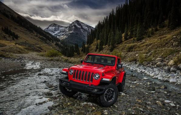 Картинка горы, красный, ручей, склоны, 2018, Jeep, Wrangler Rubicon