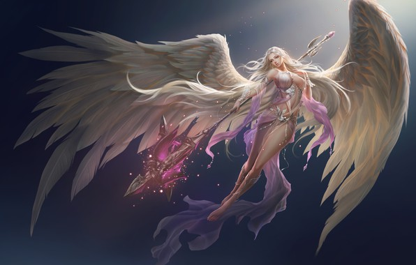 Картинка девушка, фон, крылья, ангел, fortuna, league of angels