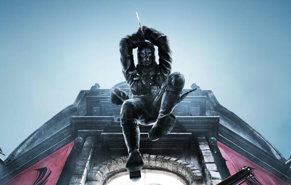Картинка city, город, улица, игра, маска, арт, action, Dishonored, Arkane Studios, Dishonored 2, стелс-экшен, лорд-защитник Корво …