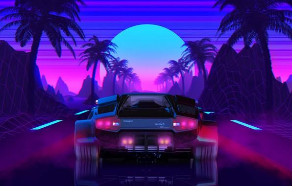 Картинка Солнце, Lamborghini, Фон, 80s, Neon, Countach, Lamborghini Countach, 80's, Synth, Retrowave, Synthwave, New Retro Wave, …