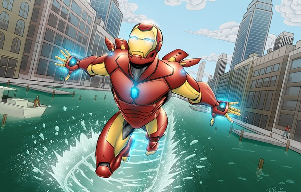 Картинка City, Iron Man, Marvel, Comics, River, Tony Stark