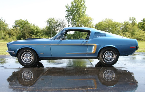 Картинка Muscle, Ford Mustang, Classic, Blue, Fastback, Cobra Jet, GT 428