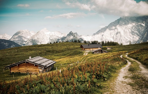 Картинка дорога, горы, домики