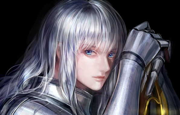 Картинка лицо, доспехи, рыцарь, голубые глаза, Berserk, Берсерк, knight, Griffith, длинные белые волосы