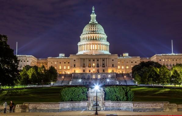 Картинка фото, Дома, Вечер, Город, Вашингтон, США, Уличные фонари, Capitol Building
