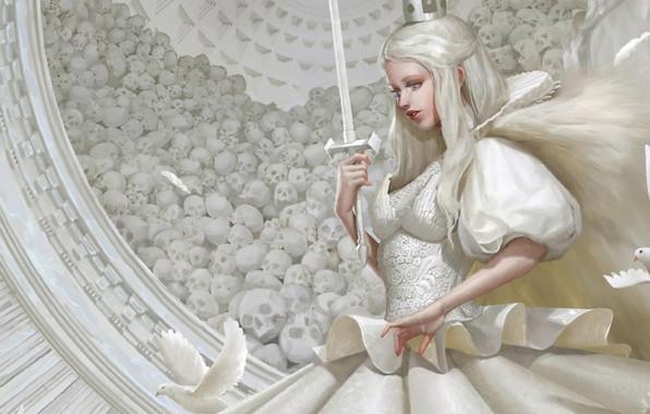 Картинка меч, корона, черепа, профиль, белое платье, art, белые голуби, White Queen, длинные белые волосы, Yu …