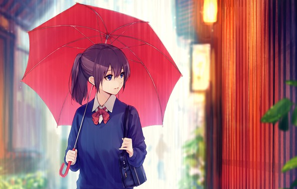 Картинка дождик, забор, школьница, сумка, на улице, красный зонт, под зонтом
