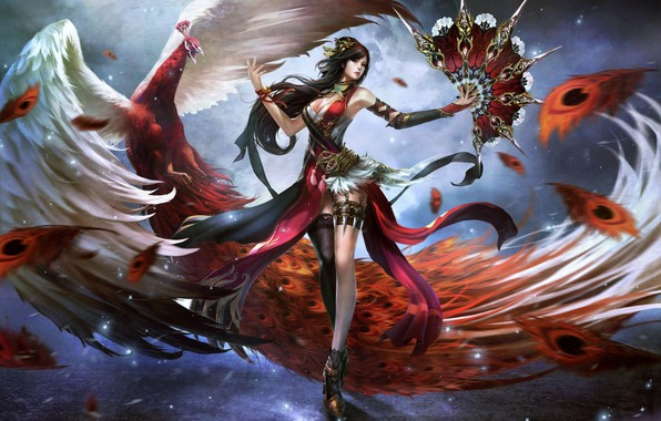 Картинка оружие, птица, магия, красота, веер, павлин, воительница, волшебница, стройные ножки, очаровательная брюнетка