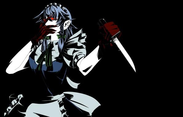 Картинка монстр, лезвие, красные глаза, убийца, горничная, в темноте, Izayoi Sakuya, с ножом, одержимая, Проект Восток, …