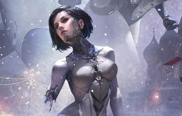 Картинка girl, fantasy, robot, science fiction, blue eyes, short hair, sci-fi, digital art, artwork, fantasy art, …
