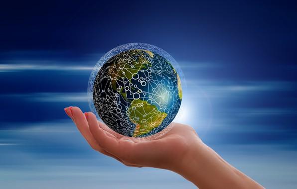 Картинка информация, сеть, планета, ладонь, берегите Землю