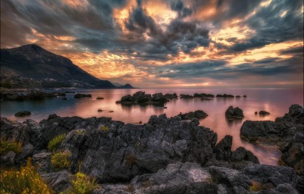 Картинка закат, побережье, Италия