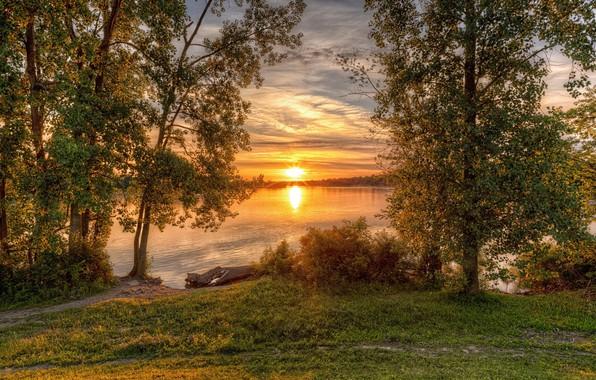 Картинка солнце, пейзаж, закат, природа, красота
