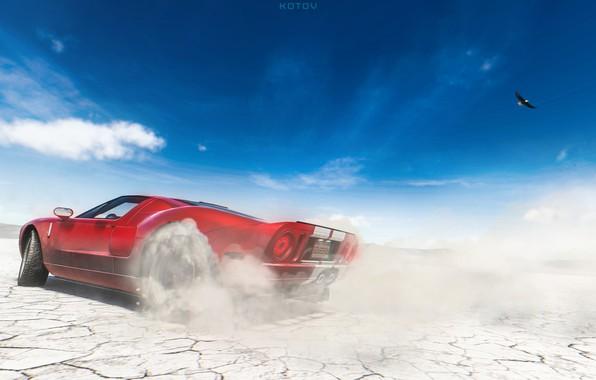 Картинка Ford, Красный, Авто, Машина, Ford GT, Art, Суперкар, Game, Спорткар, The Crew, Game Art, by ...